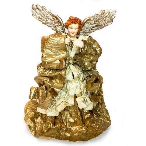 """Vintage 12"""" Tall Victorian Style Gold Fabriche Angel Christmas Tree Topper"""