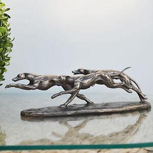 Bronze Greyhound Whippet Dog Sculpture Racing Statue Trophy Ornament NEW 31038