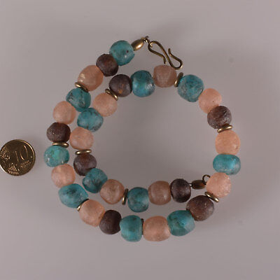 8145 Necklace made of recycled glass beads Krobo and Bronze Elements