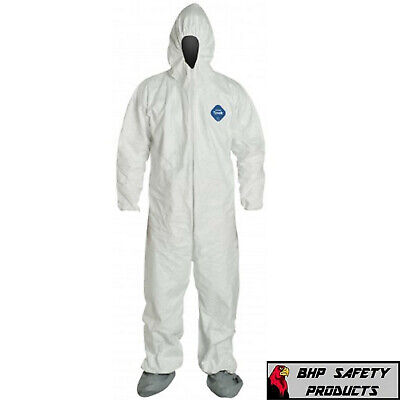 Dupont Ty122s White Tyvek Disposable Coverall Bunny Suit Hood Boots Size M-4xl