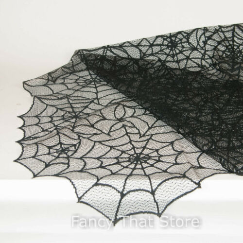 "Heritage Lace Halloween Black Spider Web Table Topper 60"" x 60""  