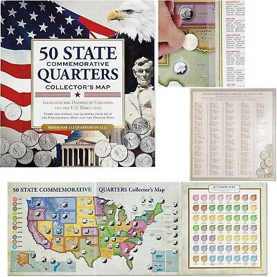 50 Fifty US State Commemorative Quarters Collectors Map Folder Album Coin Holder