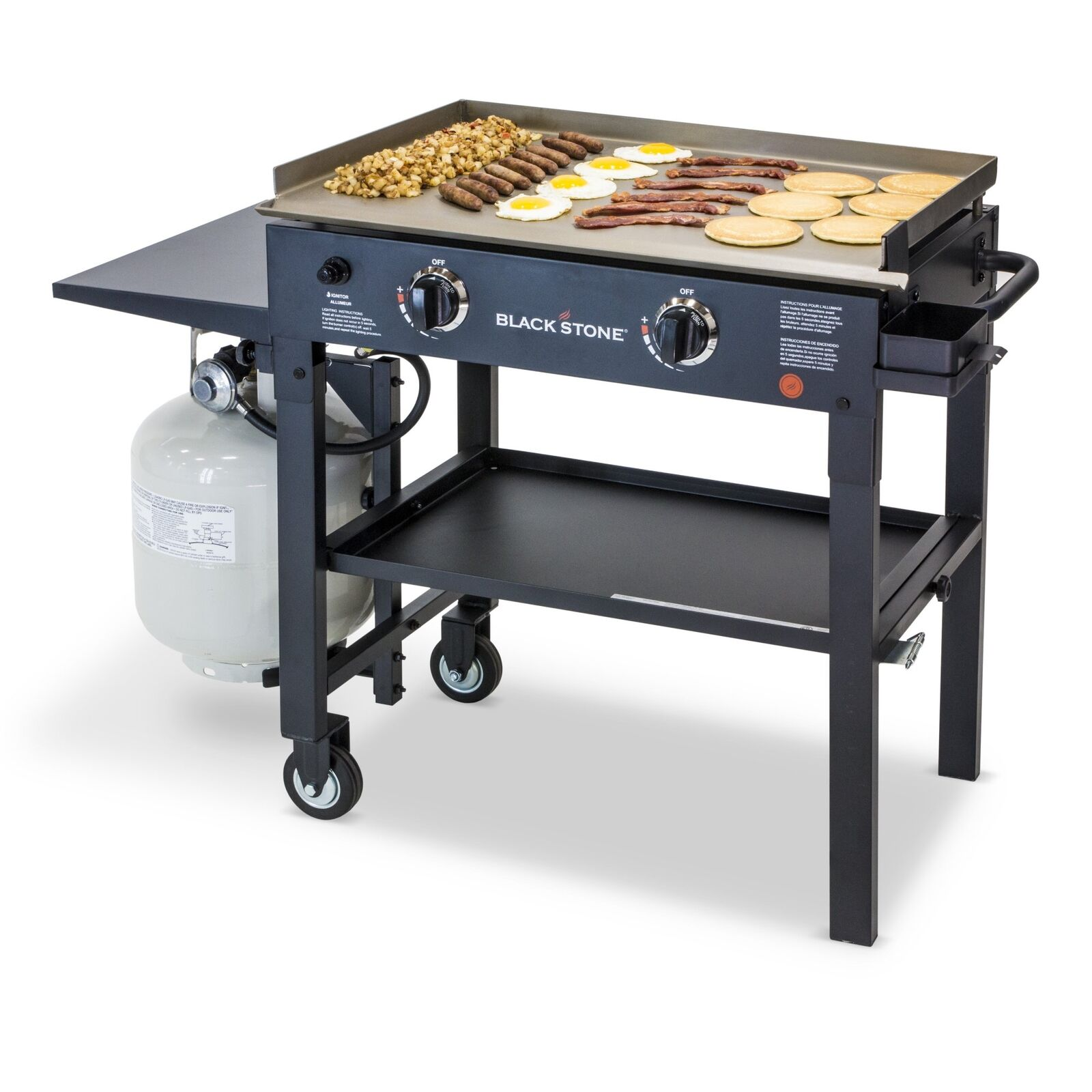 Two Burner Commercial Griddle Flat Top Outdoor Griddle Large Bbq Gas Grill Steel