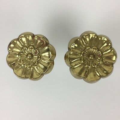 Brass Floral Style Curtain Tie Back Extends 3 1/2 - 5 1/2