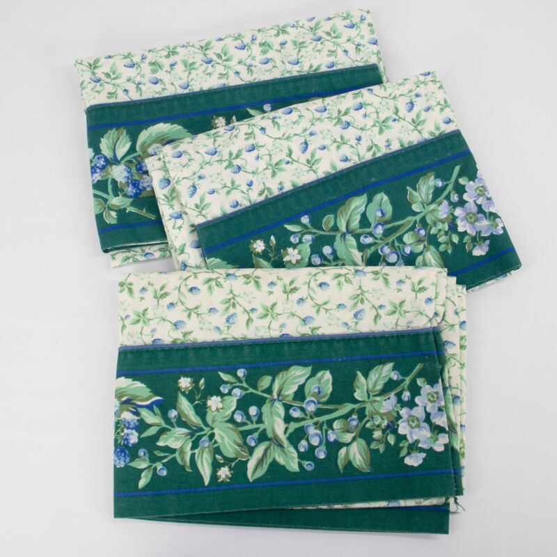 Vintage Laura Ashley Bramble Berry SET of 3 Standard PILLOWCASES Green Blue