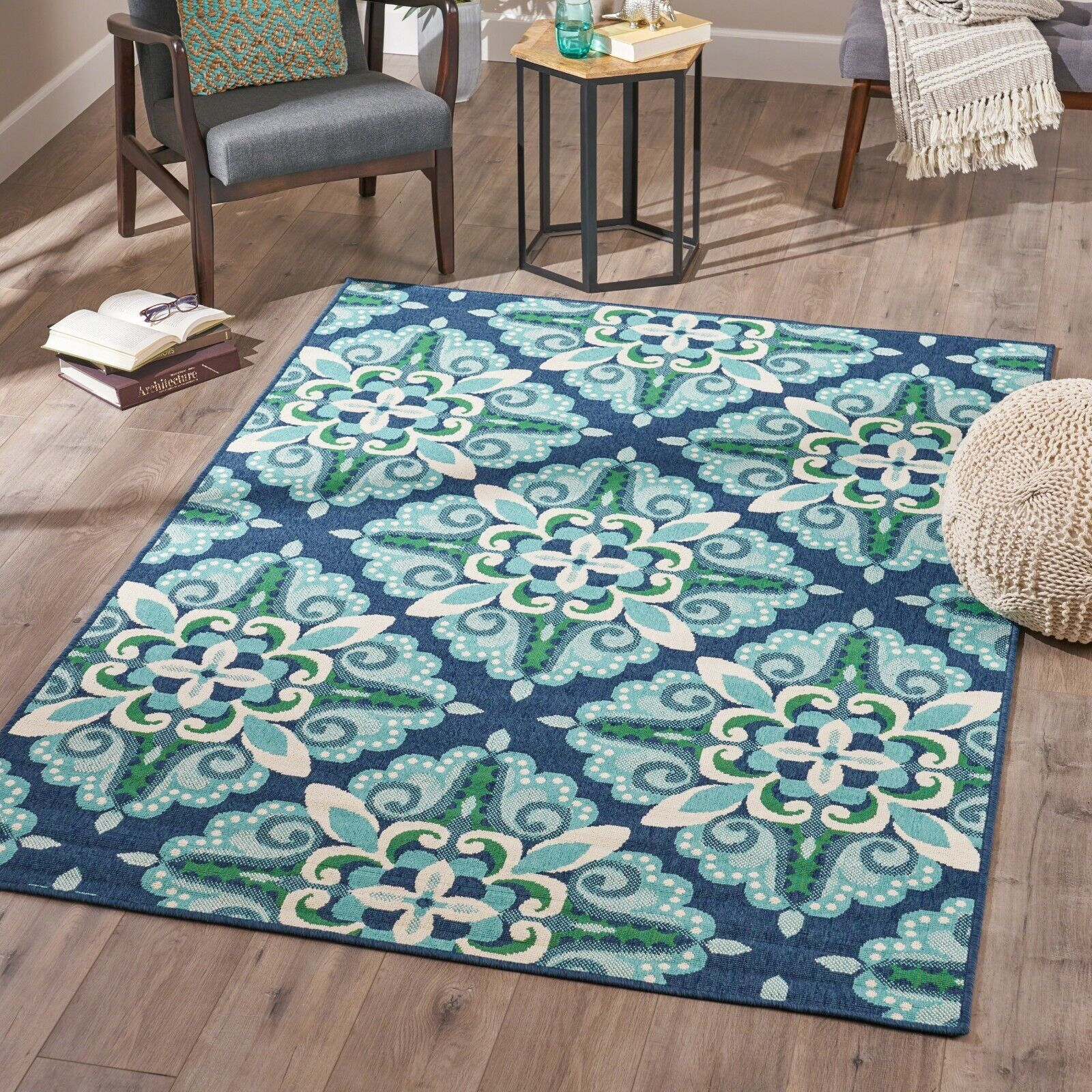 Keith Indoor Floral  Area Rug, Blue and Green Area Rugs