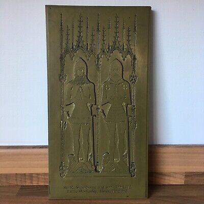 Rare Handmade Antique Brass Rubbing Plate Sir R. Swynborne and Son, AD 1412