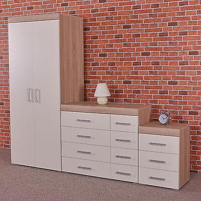 White Sonoma Oak Bedroom Furniture Set Wardrobe 4+4 Drawer Chest 3 Draw Bedside