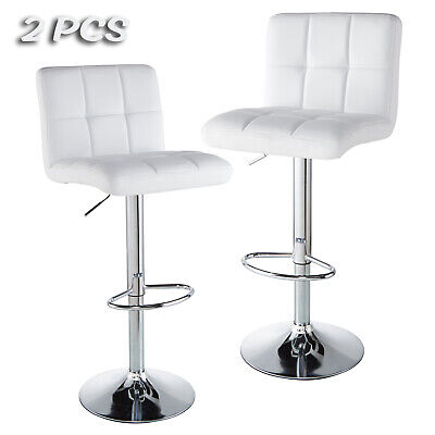Set of 2 Bar Stools Counter PU Leather Adjustable Swivel Pub Dinning Chair White ()