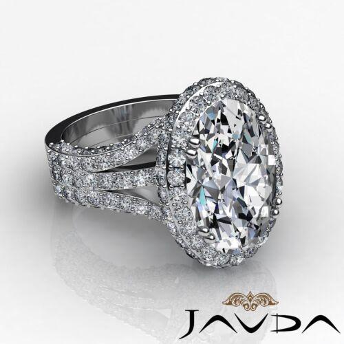 3 Row Shank Bezel Oval Cut Diamond Engagement Double Prong Ring GIA I VS2 3.65Ct 2
