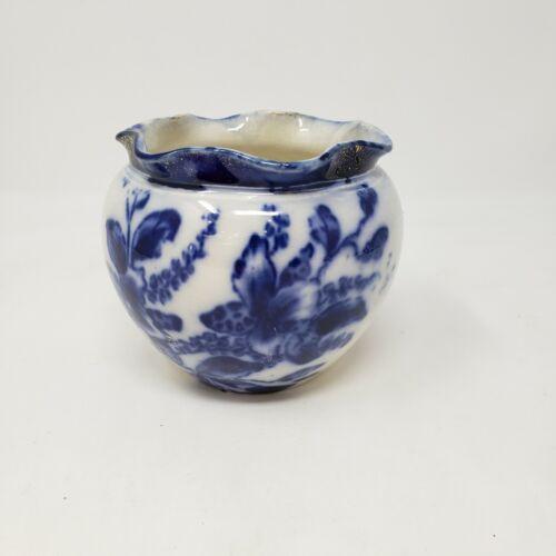 "Flow Blue Transferware Scalloped Rim - Jar / Vase - 4"" Wide - Floral - England"