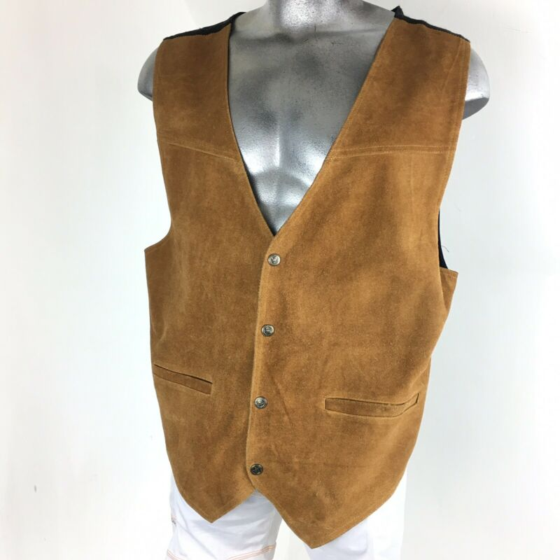 Vtg Paragraff Dress Western Brown Suede Leather Snap Button Vest size XL
