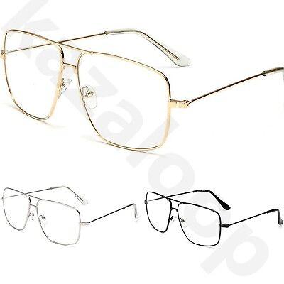 Unisex Groß Klar Linse Metallrahmen Vintage Retro 80s 70s Mode Brille