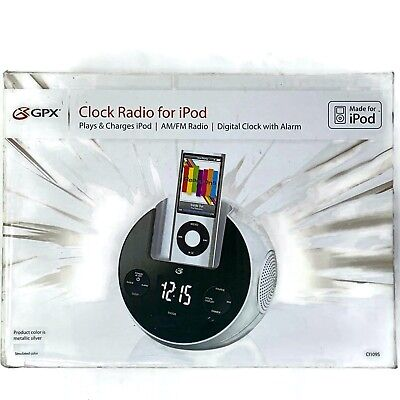 new gpx ipod am/fm radio alarm digital clock charger docking station ci109s