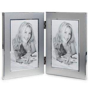"Aluminium Silver Double 6""x4"" Portrait Picture Multi Aperture Hinged Photo Frame"
