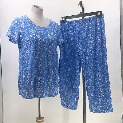Secret Treasures 2 Piece Capri and Tshirt Pajama Set moon stars sz S NWOT BN23 2 Piece Stars Pajama Set