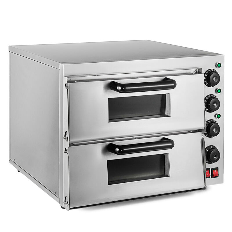 Electric 3000W Pizza Oven Double Deck Stainless Steel Ceramic Stone Fire Stone