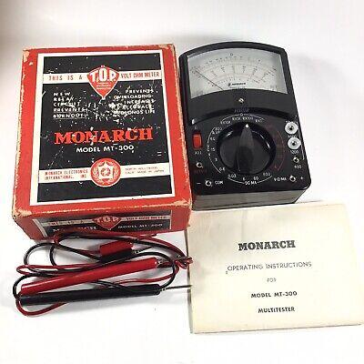 Vintage Monarch Model Mt-300 Volt Ohm Meter With Box Manual Japan Tested-works