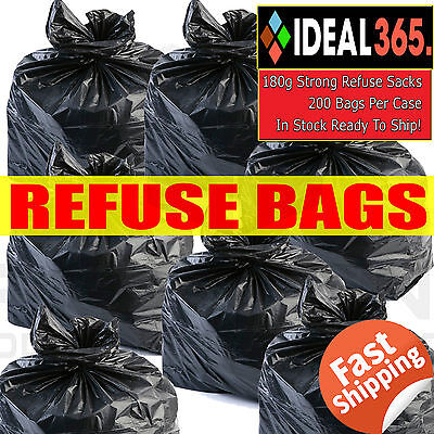 200 x HEAVY DUTY BLACK REFUSE RUBBISH WASTE SACKS BAGS BIN LINER /150g