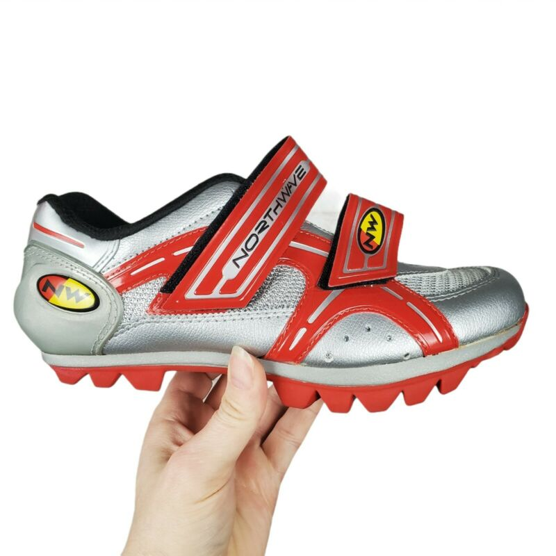 NORTHWAVE Womens 39.5 US 8.25 Red Silver MTB Cycling Shoes Mountain Bike Clips