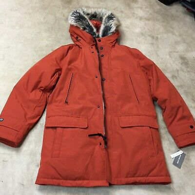Michael Kors Mens fur removable Hooded Bib Snorkel Parka Coat small orange (Michael Michael Kors Mens Hooded Bib Snorkel Coat)