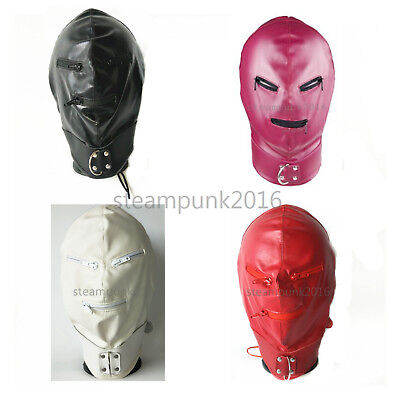 Mask Leather Headgear Full Head Harness Hood Eye Mouth Zipper HALLOWEEN roleplay