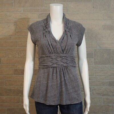 Anthropologie Postmark SMALL Gables Fit & Flare Pleated Gray V-neck Shirt Top