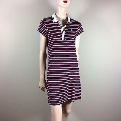 U.S.POLO ASSN. Damen Kleid M 38 Blau Rot Gestreift Shirt Dress Casual Polokleid - Rot Gestreiftes Polo Kleid