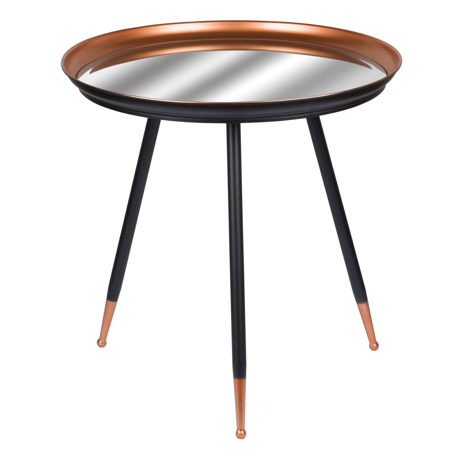 CONTEMPORARY COPPER & BLACK SIDE END LAMP COFFEE TABLE MIRRORED TOP (H18857)