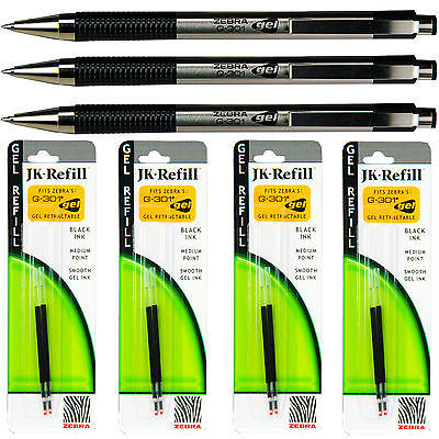 Zebra G301 Gel Pens With Refills Black Gel Ink 0.7mm Medium Point 7-piece Set
