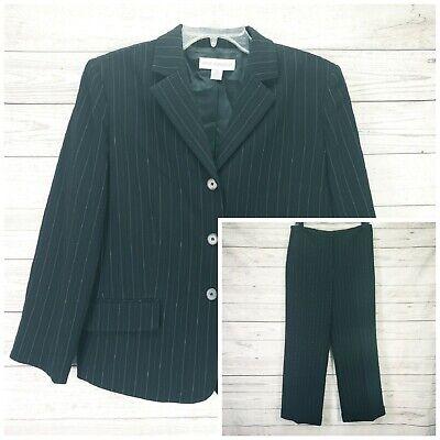 Petite Sophisticate Black Stripe Pant Jacket Lined Suit Size 10