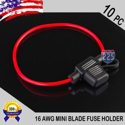 10 Pack 16 Gauge APM / ATM MINI Blade Inline Fuse Holder 100% OFC Copper Wire US