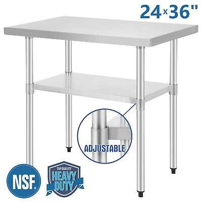 24x36 Commercial Stainless Steel Heavy Duty Food Prep Work Table Kitchen Nsf