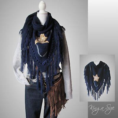 Dreieckstuch * Strick Tuch & Stern Knit Shawls & Star Women Poncho DB blau