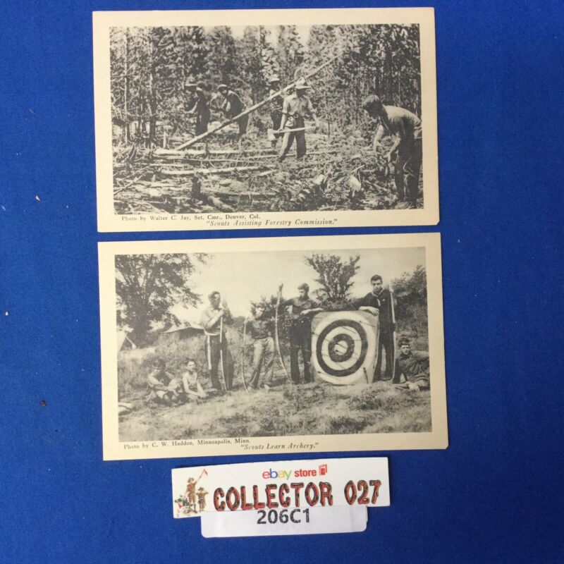 Boy Scout 2 Vintage Post Cards Forestry & Archery Official Postcard
