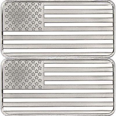Special Price   Silvertowne American Flag 10Oz  999 Silver Bar 2Pc