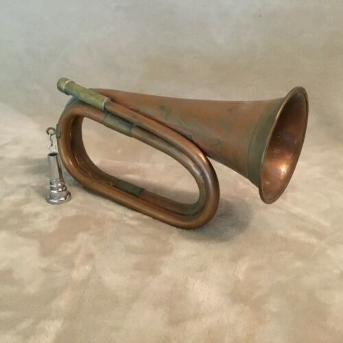 Vintage Copper & Brass Military Hunting Bugle Horn with Mouthpiece