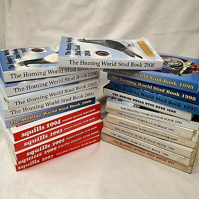 21 x Pigeon Racing Books Homing World Stud (1973-2008) & Squills (1987-94)