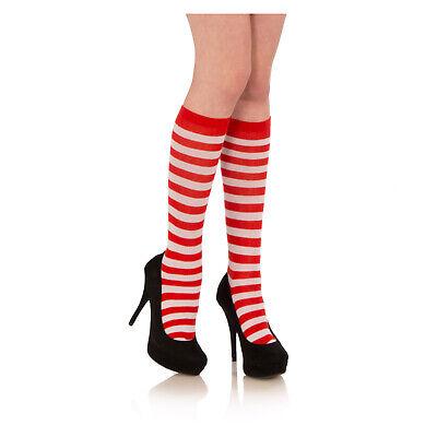Red White Striped Knee Socks waldo wenda ELF Santa Claus Christmas Adult / Child](Red And White Striped Knee Socks)