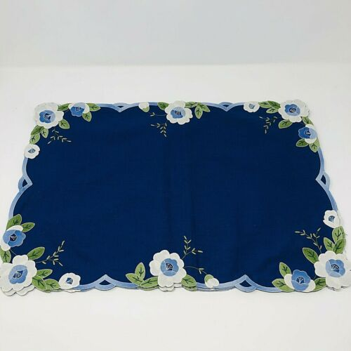 Vintage Hand Appliqued Placemats Blue White Flowers Set of 3