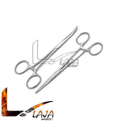 2 Pcs Hemostat Crile Forceps 5.5 Straight Curved Surgical Dental Instruments