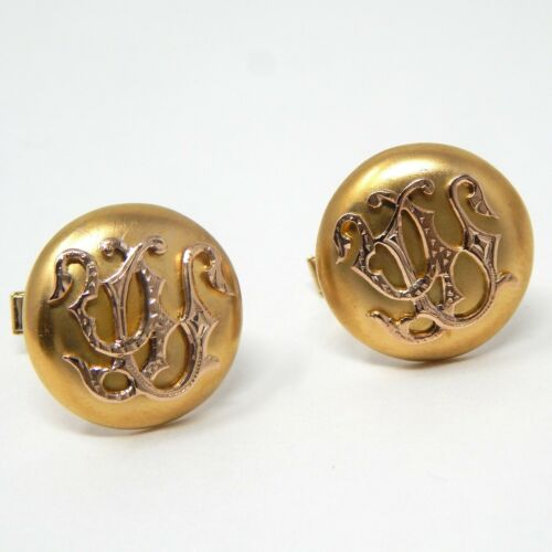 18 kt & 14 kt Gold Victorian Pair of Stylized Initial Cufflinks Cuff Links A7713