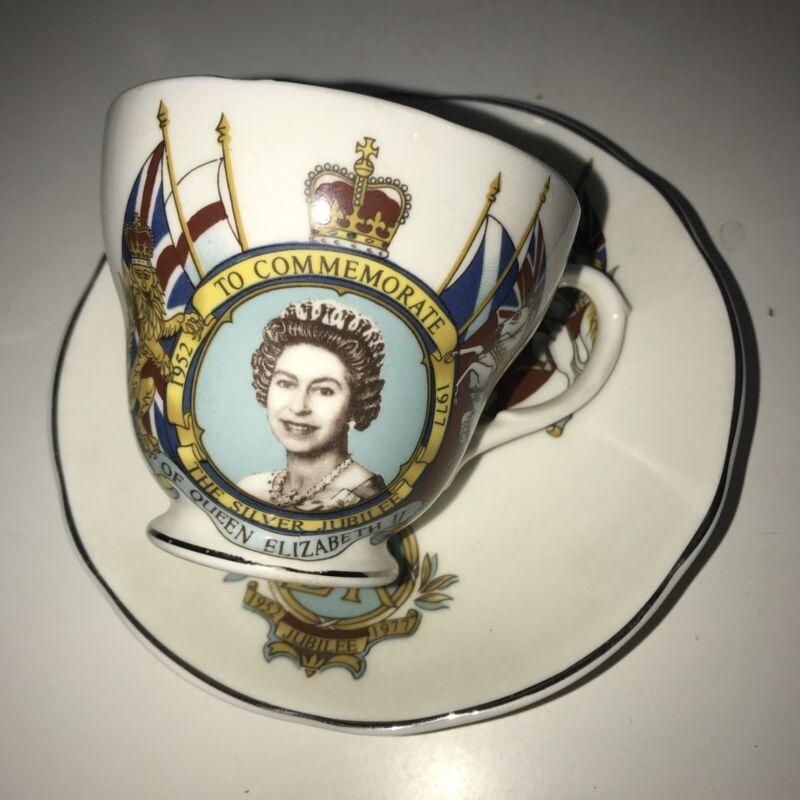 Rare QUEEN ELIZABETH II Silver Jubilee Tea Cup & Saucer Set 1952-1977 St. George