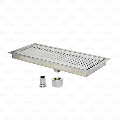 Coffee Or Beer Bar Drip Tray 12 X 5 Flush Mount Flange With Drain Stainless