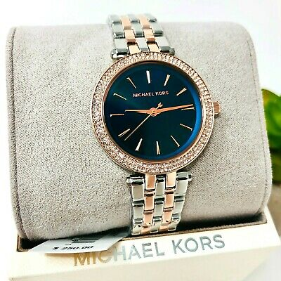 MICHAEL KORS Darci Silver Rose Gold Blue Glitz Dial Watch MK3651 $250 100% Auth.