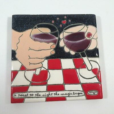 "4 1/4 x 4 1/4"" Hand Made Irene's Tiles Toast to the Night The Magic Began Trivet"
