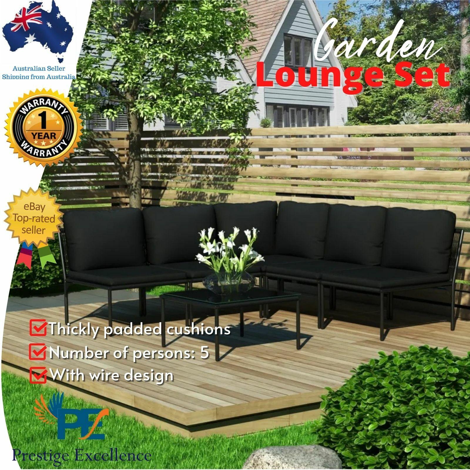 Garden Furniture - 6pc Outdoor Lounge Setting Garden Furniture Sofa Patio Table Chairs w/ Cushions