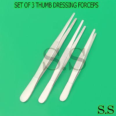 3 Tweezers Thumb Dressing Forceps 8 10 12 Serrated