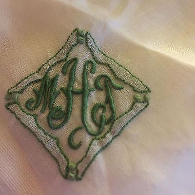 VINTAGE LINEN HANDKERCHIEF BRIDAL WEDDING White  with GREEN  M T H MONOGRAM