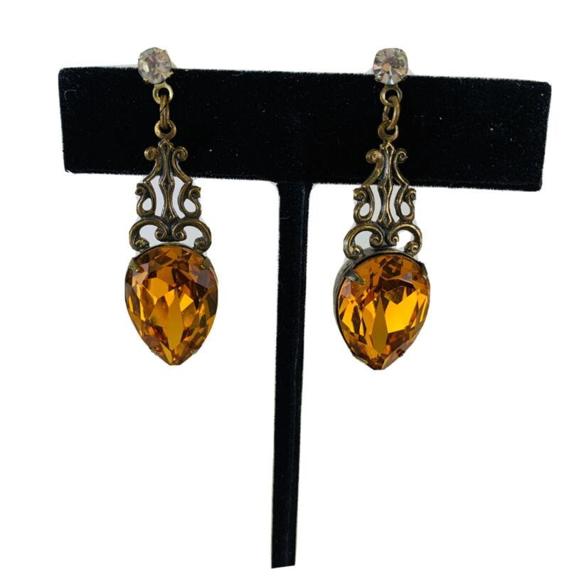 Sadie Green signed Brass Art Glass Revival Art Nouveau Drop Earrings